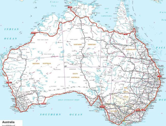 Route around  Australia