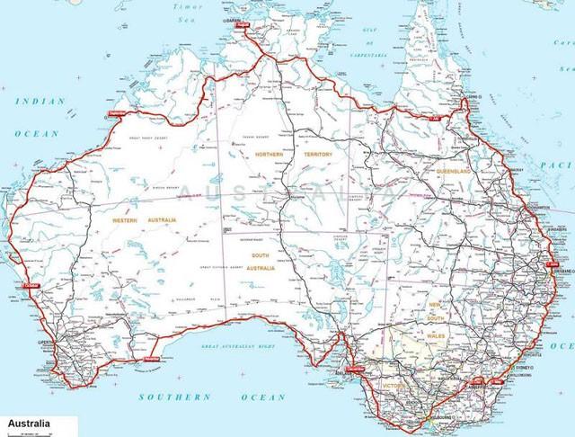 Route around  Australia